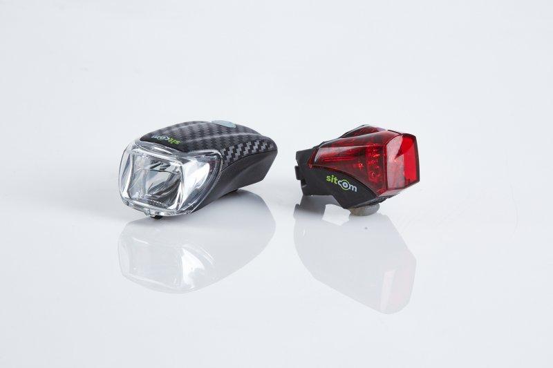 Fahrrad LED Lichtset Sitcom 40 Lux Turismo Akku Frontlicht Rücklicht USB schwarz